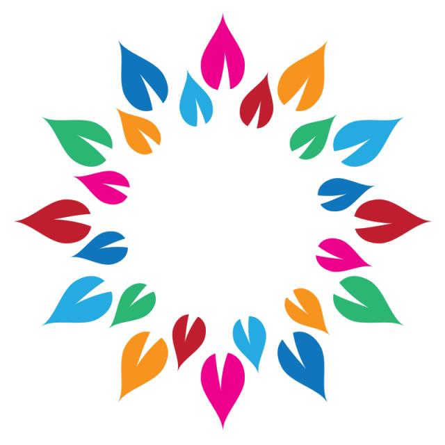 Mandala vector png. Colorful leaves circle art