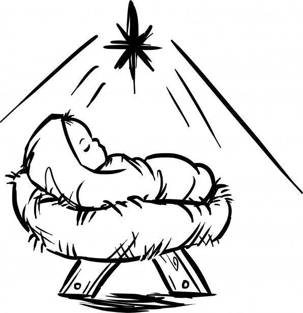 Nativity clipart baby jesus manger. Black white clip art