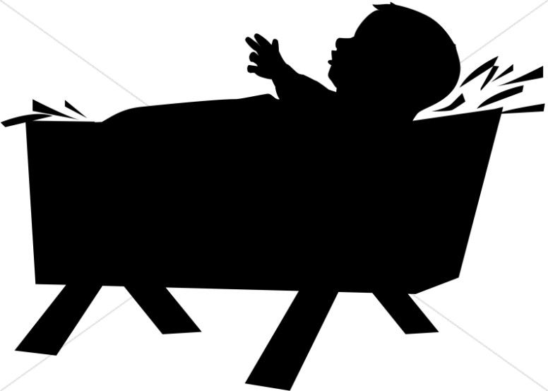 Silhouette born in a. Nativity clipart baby jesus manger