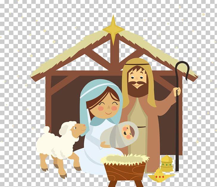 Christmas novena of aguinaldos. Nativity clipart manger