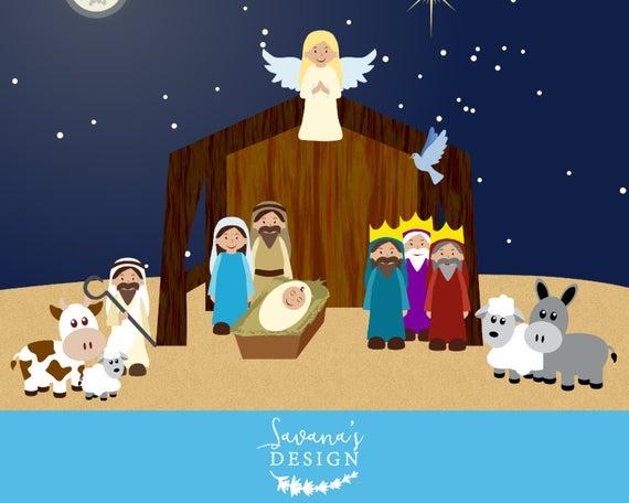 Clip art scene . Nativity clipart season
