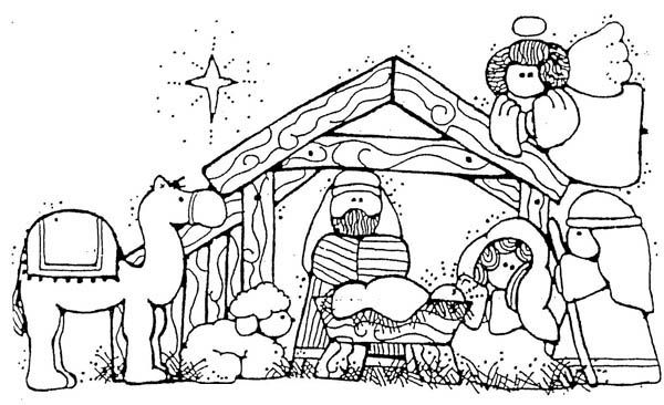 Manger clipart coloring page. Nativity jesus in cartoon