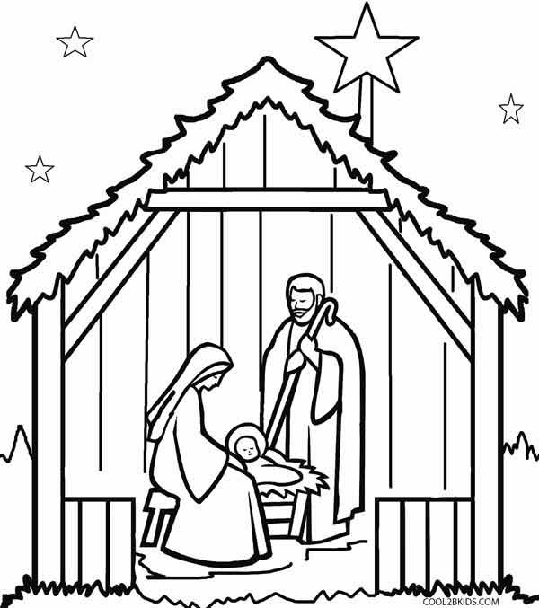 Manger clipart coloring page. Printable nativity scene pages