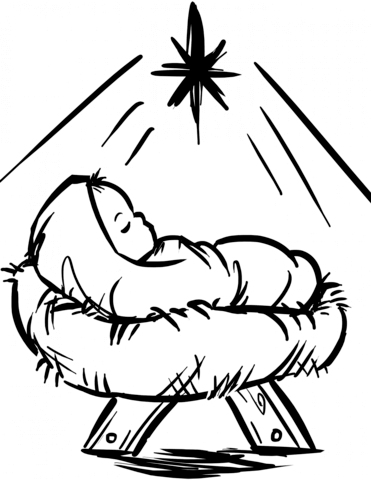 Manger clipart coloring page. Baby jesus scene free