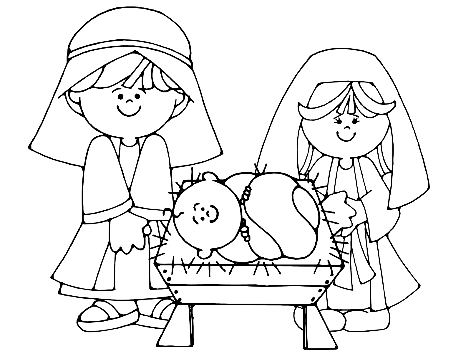 Simple nativity scene colouring. Manger clipart coloring page