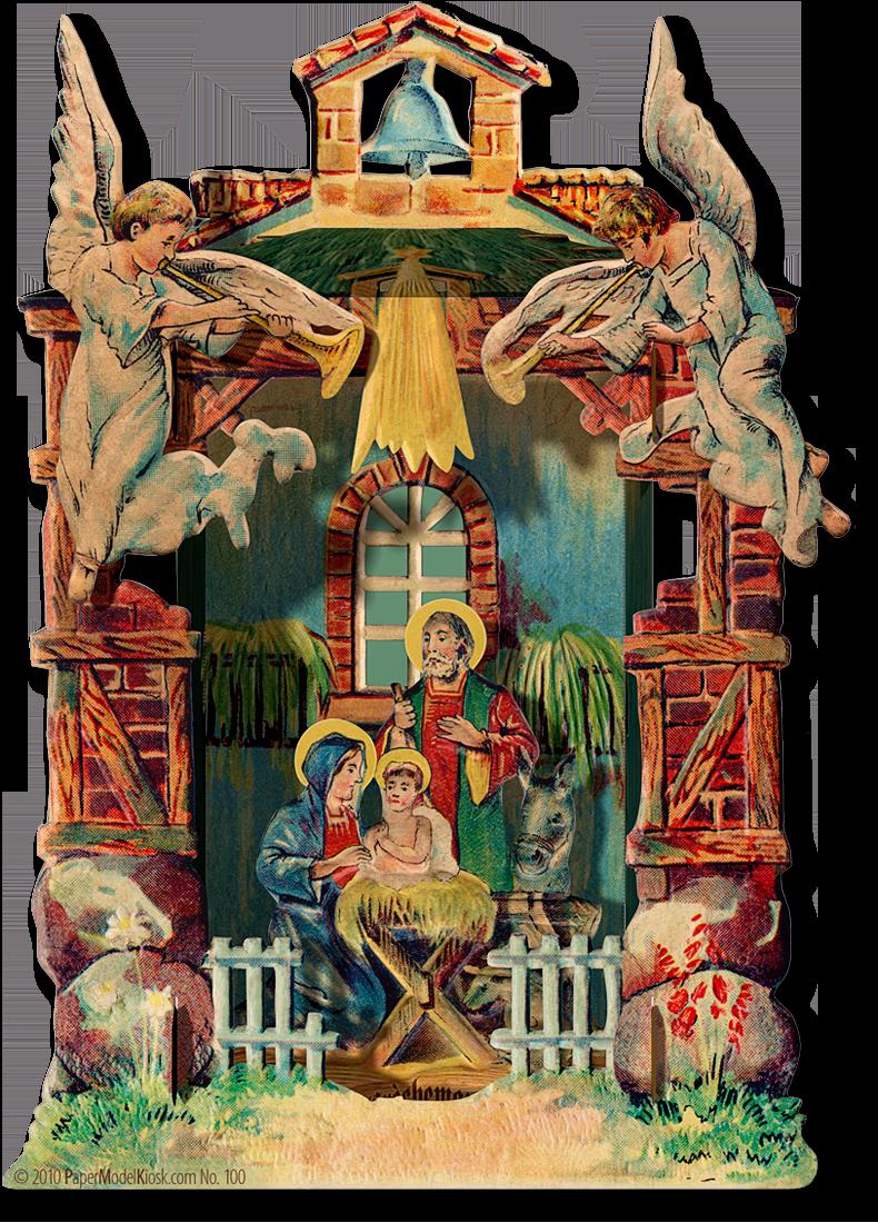 Bell nativity papermodelkiosk com. Manger clipart creche
