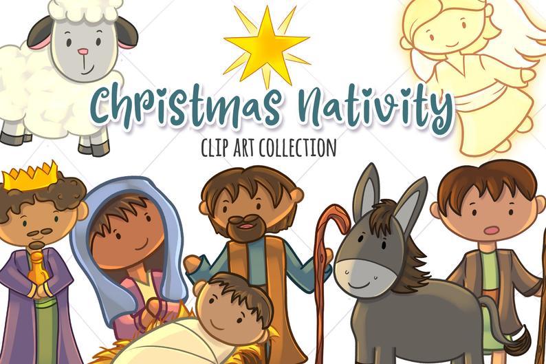 Manger clipart cute. Christmas nativity clip art