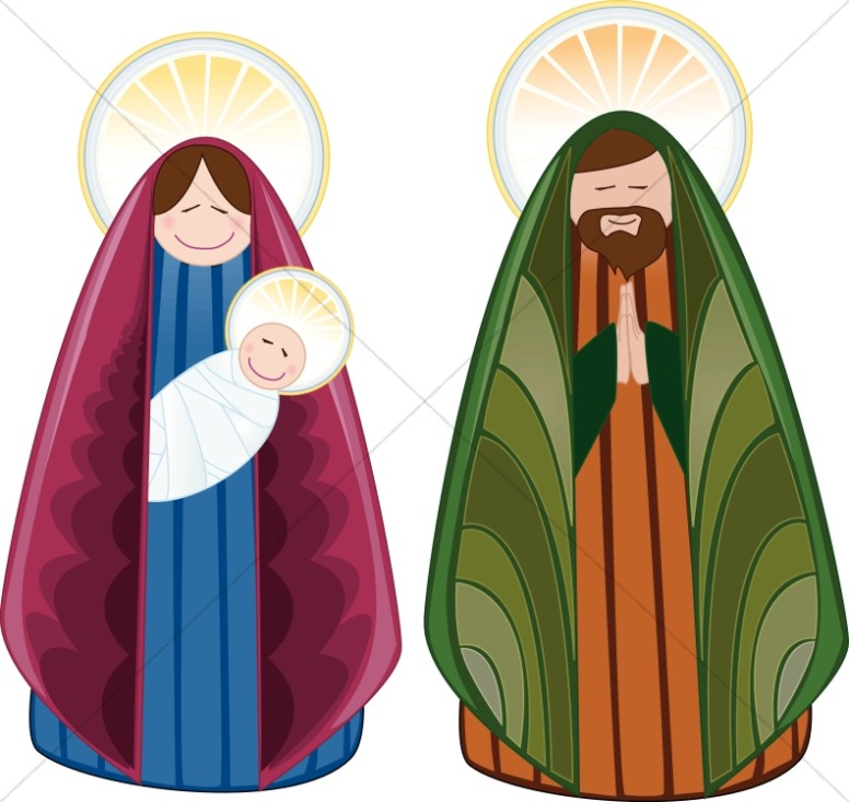 Cheerful characters nativity . Manger clipart holy family