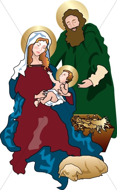 Manger clipart holy family. In the stable
