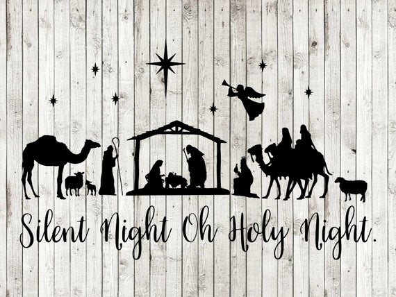 Nativity clipart silent night. Scene oh holy svg