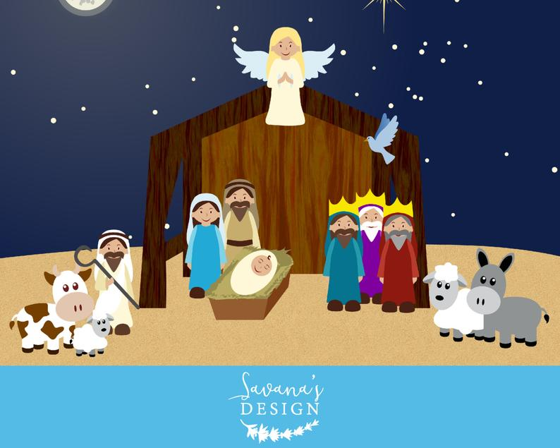 Nativity clip art scene. Manger clipart mass