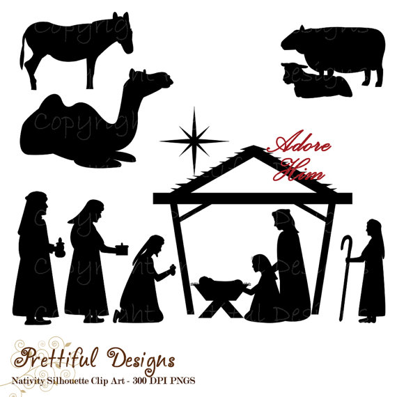 Christmas silhouette clip art. Manger clipart nativity shepherd