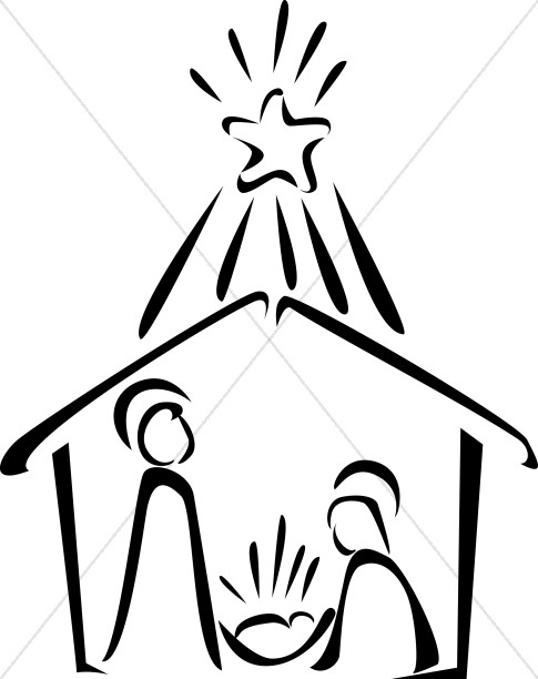 Nativity in black and. Manger clipart outline