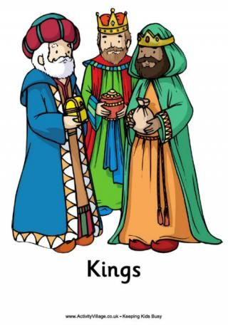Poster the three kings. Nativity clipart wisemen