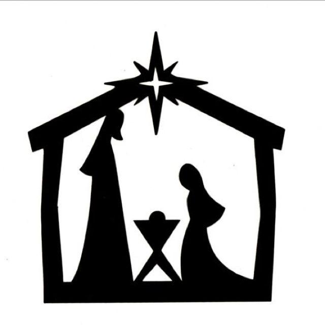 Manger sillohuette transparent clip. Nativity clipart background