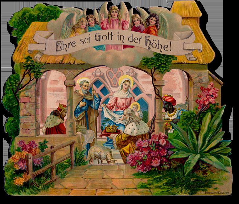 Nativity christmas cards best. Manger clipart vintage
