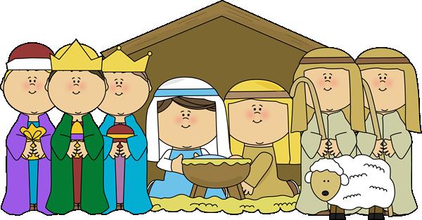 Baby christmas nativity scene. Manger clipart wisemen