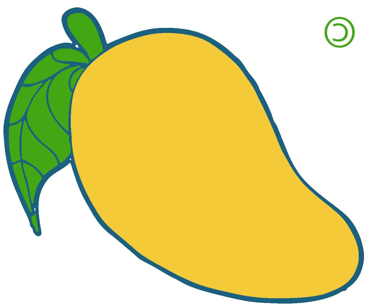 Unique yellow cdr vector. Mango clipart