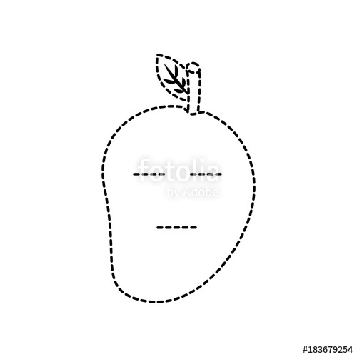 Mango clipart dotted. Serious fruit kawaii icon