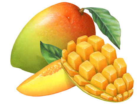 Whole with a leaf. Mango clipart half mango