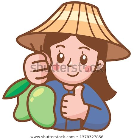 Vector illustration of cartoon. Mango clipart seller
