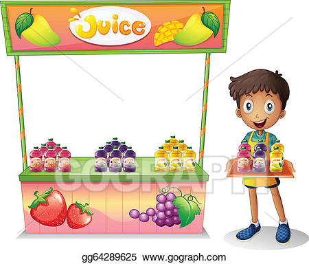 Mango clipart seller. Vector a boy selling