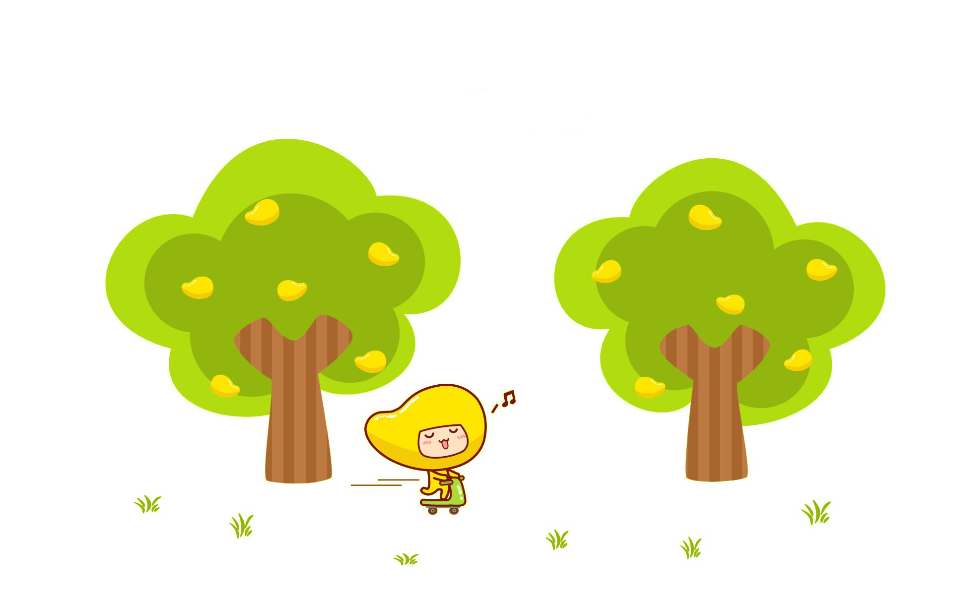 Cartoon trees and people. Mango clipart wallpaper