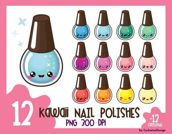 Nails clipart cute nail. Kawaii polish clip art