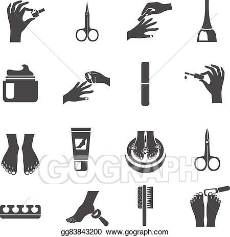 Eps vector and pedicure. Manicure clipart icon