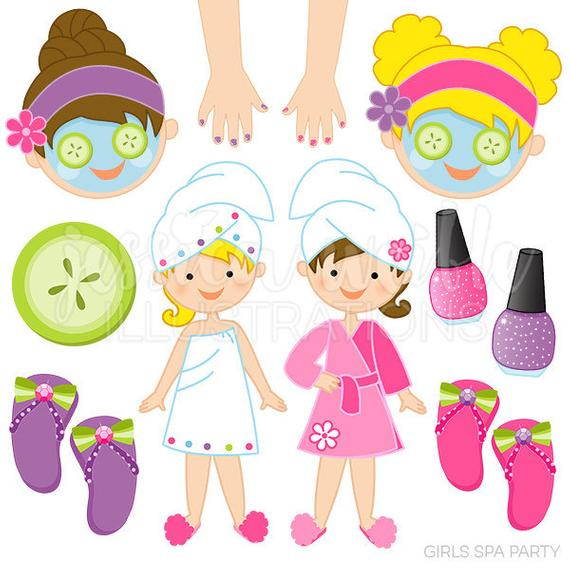 Manicure clipart kid. Girls spa party cute