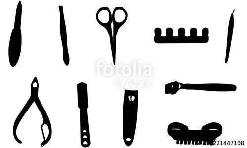 Manicure clipart manicure tool. Pedicure tools silhouette svg