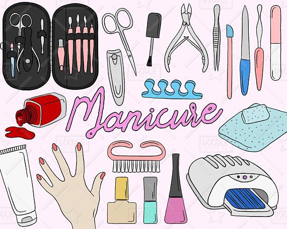 Manicure vector pack doodles. Nails clipart nailart