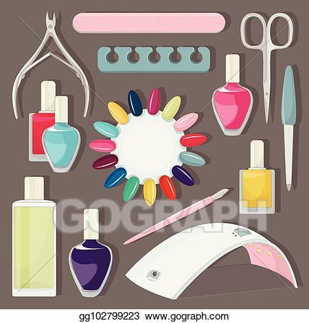 Nails clipart nail salon. Vector stock set illustration