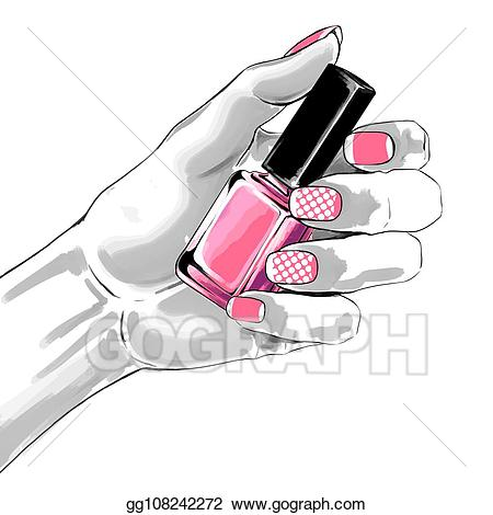 Eps illustration woman hand. Nails clipart french manicure