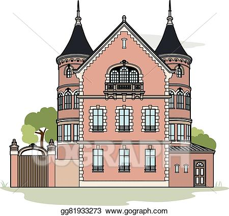 Mansion clipart. Vector stock pink illustration