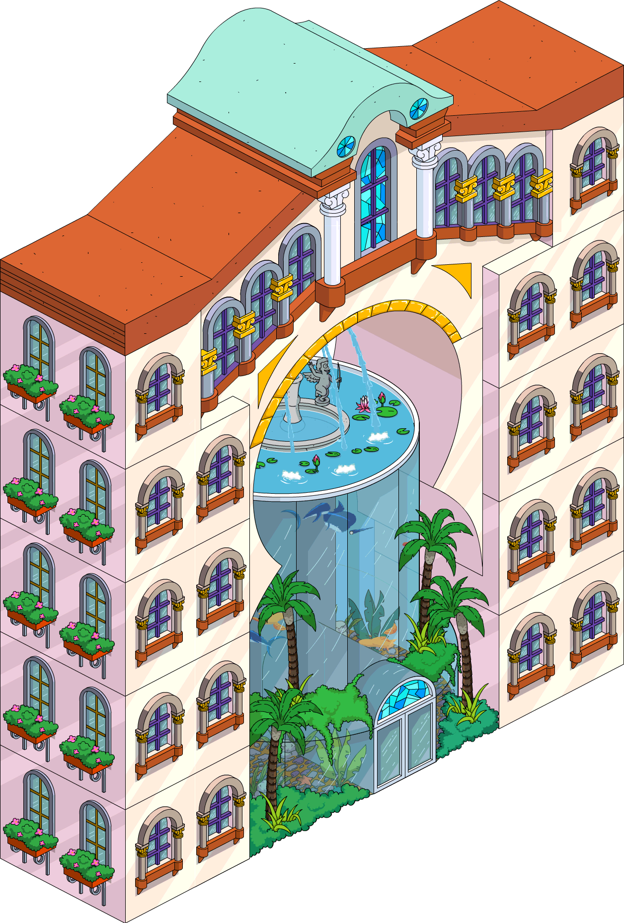 Mansion clipart apartment. Exclusive resort the simpsons