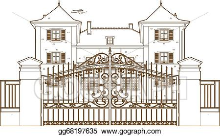 Mansion clipart house gate. Vector stock design behind