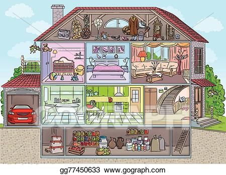 Vector illustration the house. Mansion clipart inside