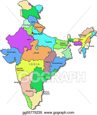 Map clipart. Vector art color india