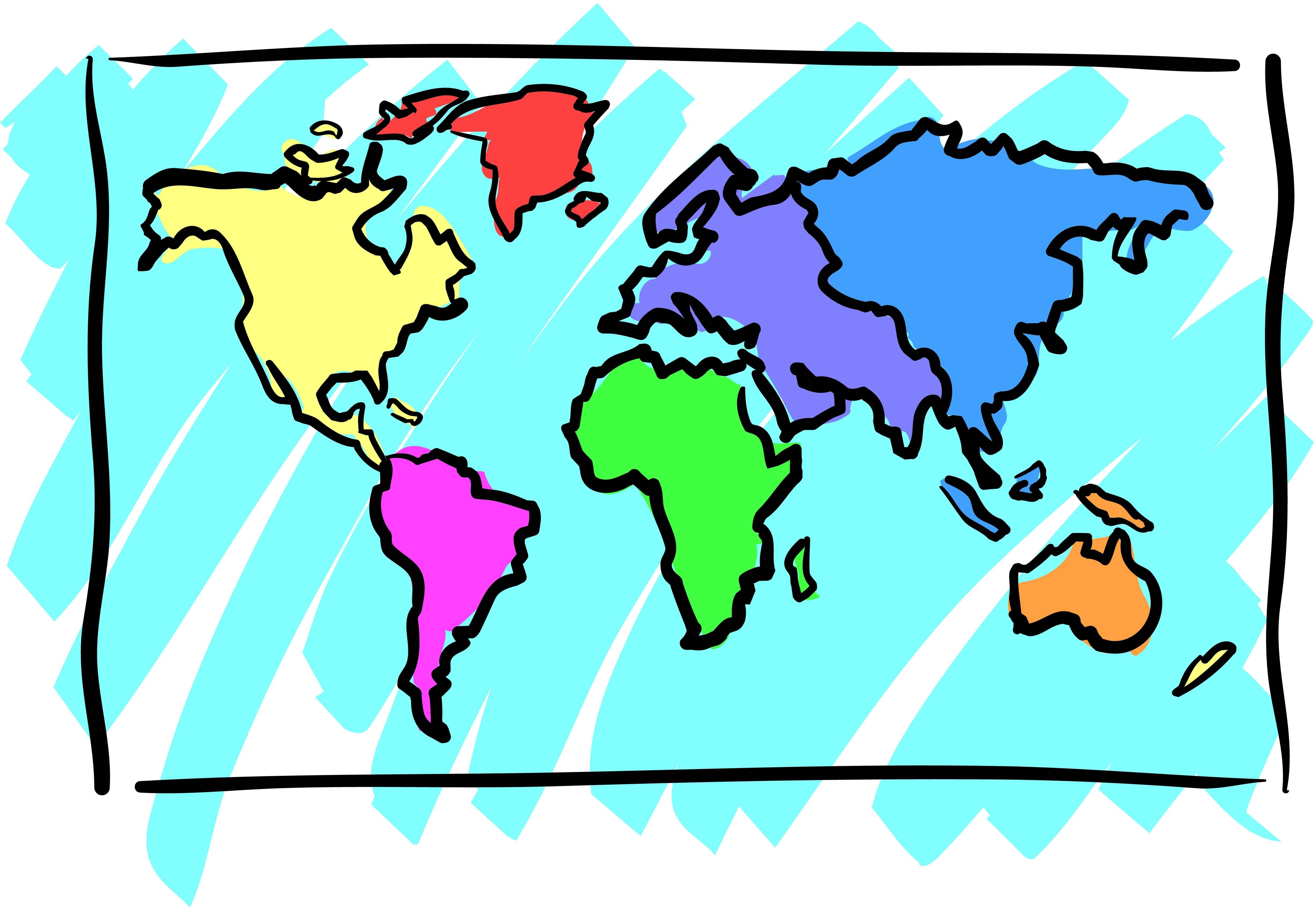 Map blank color new. Clipart world