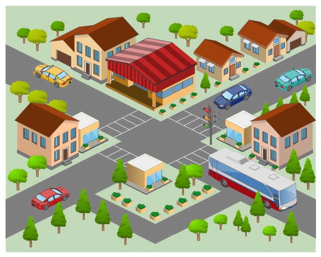 Map of commercial area. Neighborhood clipart street address