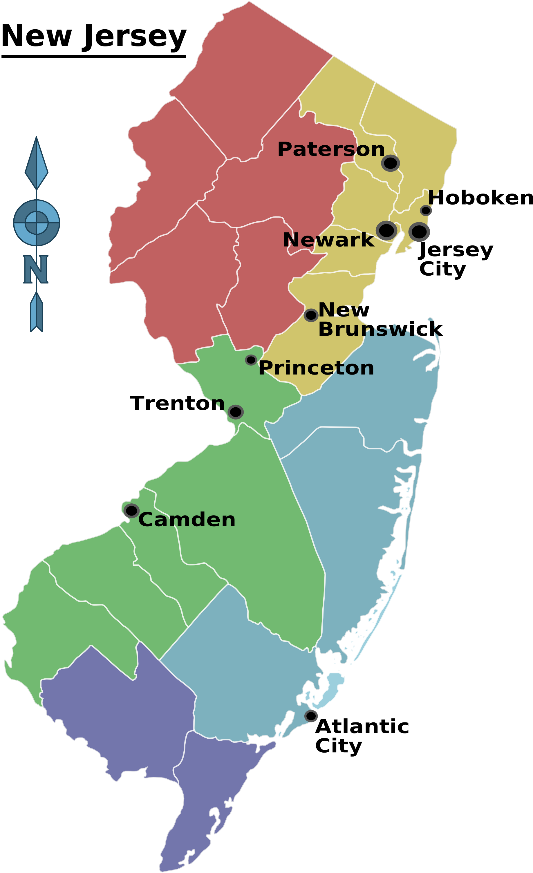 New jersey regions paddle. Map clipart river delta
