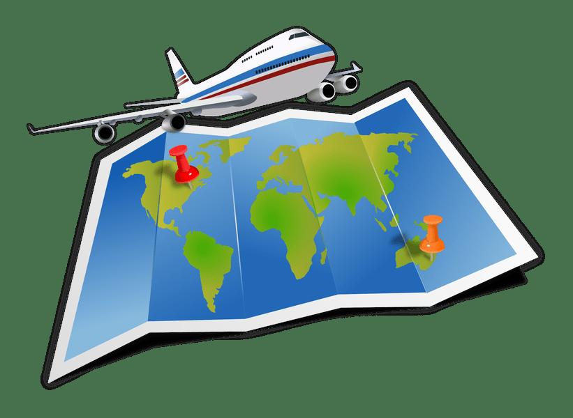 Map travel path decorations. Clipart plane tourist