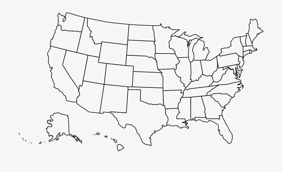 United states clipart map. Us outline png detailed
