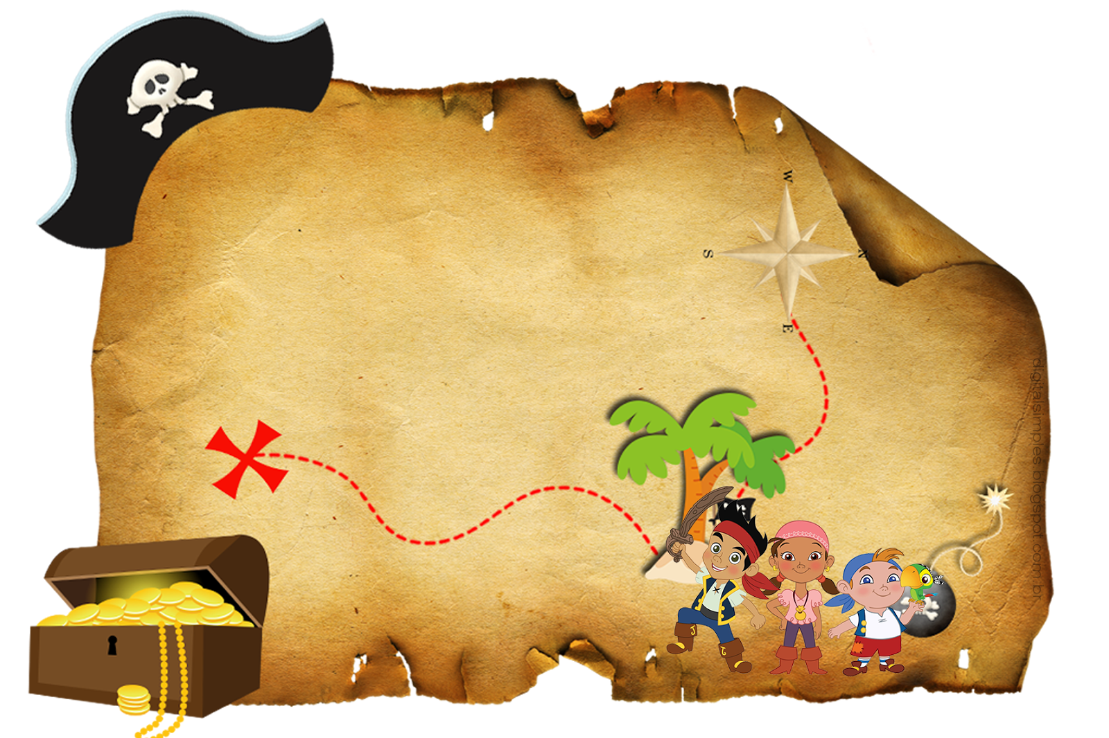 Convite mapa do tesouro. Pirates clipart invitation