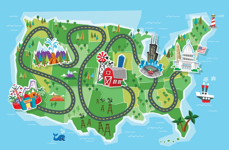 Maps clipart. Cartoon road map girls