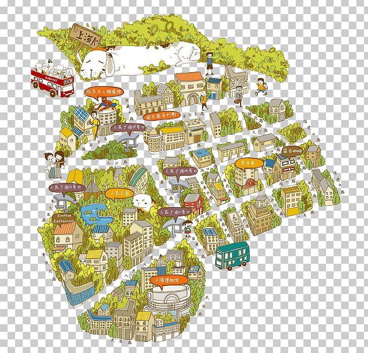 Shanghai png cartoon creative. Maps clipart map work