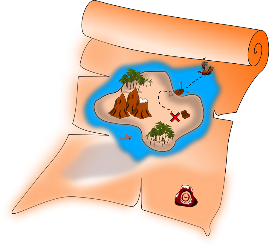 Maps clipart treasure hunting. How to draw a