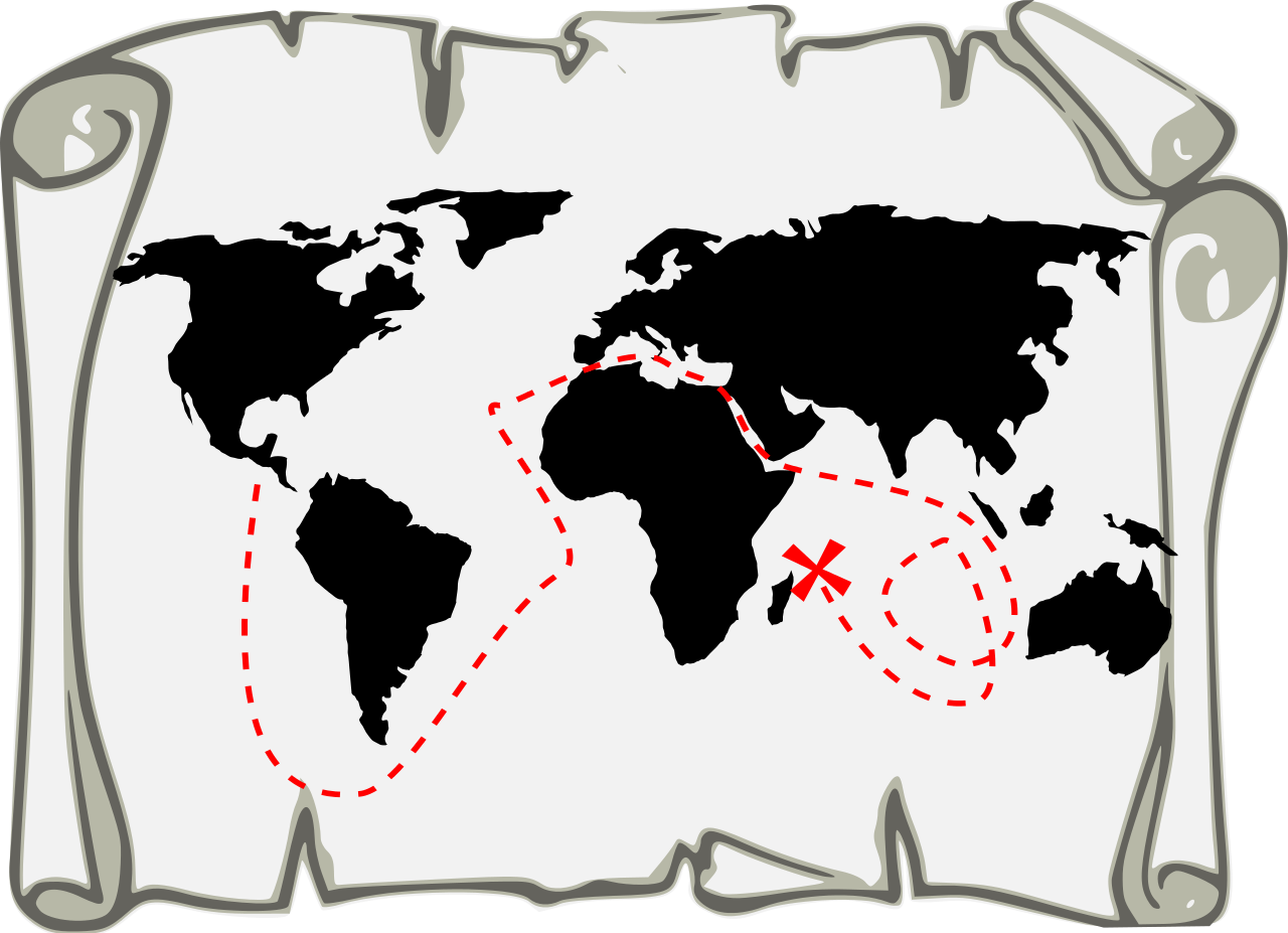 Maps clipart treasure hunting. File map black svg