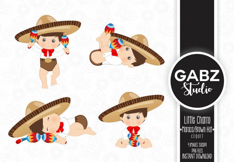 Maracas clipart baby sombrero. Little charro maraca mexican